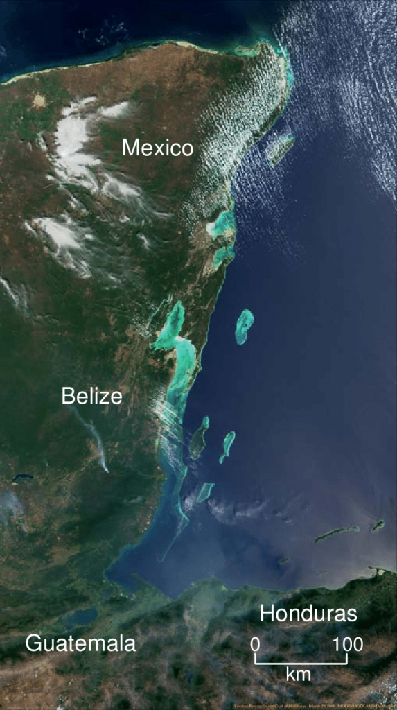 Satellite view of the Meso American Reef