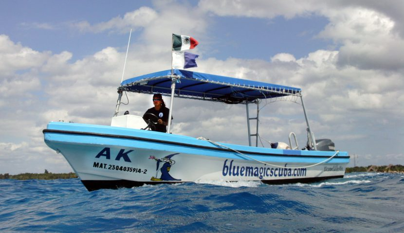 The AK in the blue magic waters of Cozumel