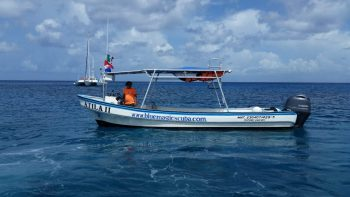 The Atila 2 in the blue magic waters of Cozumel