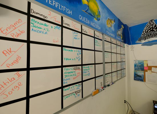 A view of the planning board at Blue Magic Scuba.