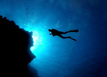 A diver in the Blue Magic waters of Cozumel